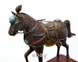2 Chinois Gilt Silver Enamel Cheval Coral & Turquoise Carved Carving Perles Stand