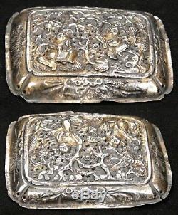 2 Plaques De Sceptre Qing Ruyi En Argent Doré À L'ancienne, Chine