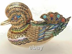 300g Antique Chinois Argent Or Filigrane Canard Figure Corail Turquoise Émail Boîte