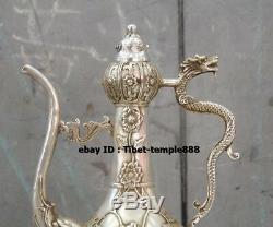 31 CM Chinois Pur Bronze Doré À Fleurs En Argent Dragon Dragon Pot De Vin Pot Théière Flagon Stoup