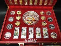 38 Nouveau 2020 Zodiaque Chinois 24k Or Argent Plaqué Coins Set Année Du Rat