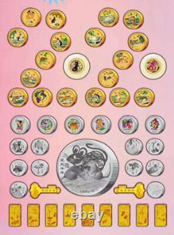 48 Nouveau Zodiaque Chinois 24k 24k Pièces D'argent Plaquées Argent Ensemble Année De Rat