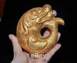 4rare Dynastie Chinoise En Argent Incrusté Doré Jade Blanc Poisson Gemme Statue Tabatière Bouteille