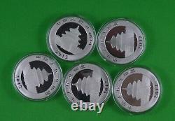 5 Pure Silver Chinese Panda 2012 Avec Placage D'or Sélectif