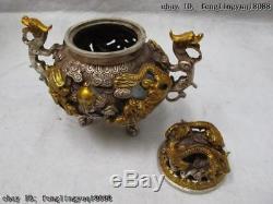 6 Brûleur D'encens Nine Dragon Propice À La Chine En Cuivre Blanc Doré, Cuivre Et Encensoir