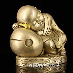 6 Main En Bronze Antique Vieux Chinois Argenture Garçon Doré Statue De Bouddha