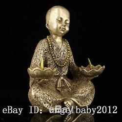 7 Bronze Antique Chinois Faits À La Main Garçon Doré De Qing Statue Candlestick