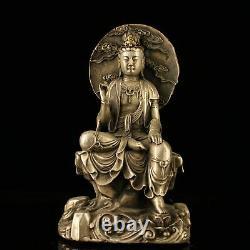 7 Chinois Vieux Bronze Antique Fait Main Argent Doré Guanyin Statue