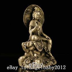 7 Statue De Guanyin En Bronze Doré À La Main Bronze Antique