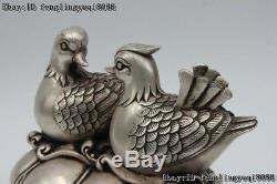 7 Statues De Galericulata Statue Aixoise En Bronze Blanc Chinois Doré Argent Lotus Lotus