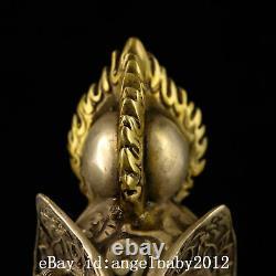 7 Xuande Chinois Antique Bronze Fait Main Argent Doré Trois Visage Statue
