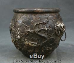 8 Collect Marqué Vieux Bronze Vermeil Dynastie Chinoise Palais Du Dragon Lion Pot