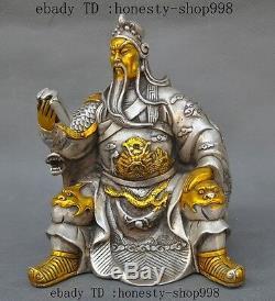 8un Vieux Chinois En Argent Doré Dragon Guan Gong Guan Yu Guerrier Dieu Lire Livre Statue