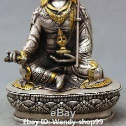 9 Bouddha Chinois Siège En Argent Doré Padmasambhava Buddharinpoché Buddha Statue