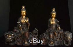 9 Bronze Chinois Argent Doré Manjusri Elephant Samantabhadra Lion Statue Paire