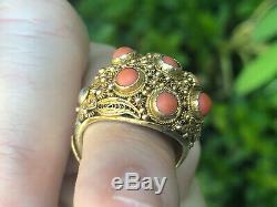 A + Antique Chinese Export Corail Bracelet En Argent Doré Boucles D'oreilles Bague & Broche Set