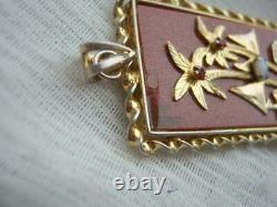 Amazing Asian Silver Gilt Mounted Huge Goldstone Opal Chinese Fortune Pendentif