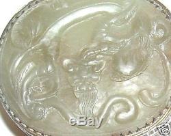 Ancien Boite En Metal Bronze Jade Dragon Blanc Sculpté En Bronze Doré Signé