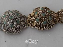 Ancien Bracelet D'exportation Chinois Art Déco En Argent Doré Incrusté De Jade (1010)