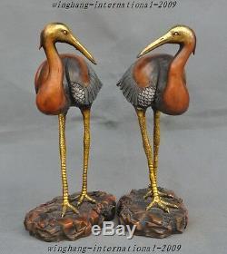 Ancien Chinois Argent Doré Longévité Bronze Chanceux Oiseaux Crane-couronne Rouge Hok Statue