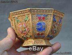 Ancien Chinois Argent Royal Filigrane De L'or Gilt Émail Peach Fleur Tasse De Thé Bowl