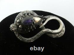 Ancien Chinois Export 925 S Argent Et Or Améthyste Cabochon Dragon Snake Brooch