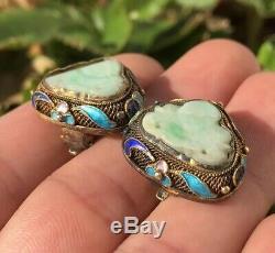 Ancien Chinois Gilt Argent Émail Sculpté Boucles D'oreilles Clip Vert Et Blanc Jade Bouddha