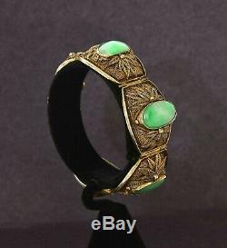 Ancien Chinois Gilt Argent Sterling Filigrane Jade Jadéite Sculpté Fleur Bracelet Mk