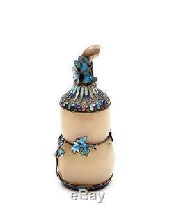 Ancien Chinois Gilt D'argent En Émail Agate Sterling Sculpté Sculpture Gourd Tabatière