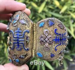Ancien Chinois Gilt D'argent En Émail Sculpté 3 Blanc Translucide Jade Bracelet De Dieu