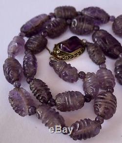 Ancien Collier De Perles D'améthyste Chinoises Sculptées En Argent Filigrane Et Doré