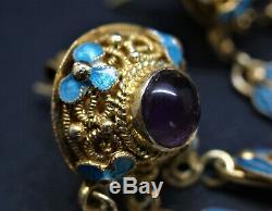 Ancienne Déco Chinoise Exportation Argent Doré 925 Boucles D'oreille En Émail Améthyste 6cm 14g Wow
