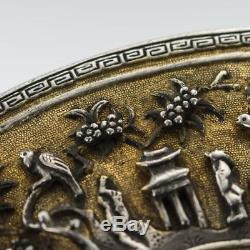 Ancienne Xviiième Rare Box En Forme De Ventilateur Argent Doré Kangxi Chinois Chinoise 1700