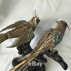 Anciennes Chinois D'exportation D'argent Filigrane Émail Corail Oiseau Figure Statue