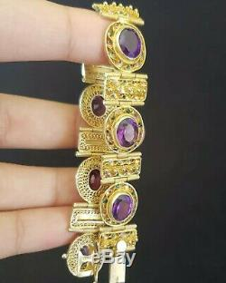Anciennes En Argent Sterling Chinois D'exportation Améthyste Bracelet En Or Vermeil
