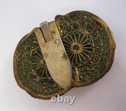 Années 1920 Signé Chinois Main Sculpté Jade Faux Seed Pearl Dress Clip Gilt Silver
