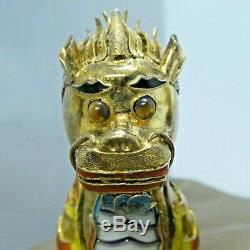 Années 1940 Argent Chinois Gilt Émail Foo Dogs Lions Boîte Originale Monnaie 3.25 Chaque