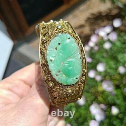 Antiquaire Chinois Filigrane Sculpté Jade Pierres Précieuses Exportation Argent Bracelet Doré