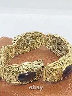 Antique 1920s Chinois Filipree Argent Gilt & Bracelet Tourmaline