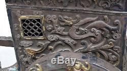 Antique 19c Chinois Argent & Doré Ox Cartdecoré Withdragons, Bats, Fu-lions