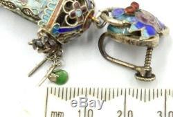 Antique Argent Doré D'or Et De Jade Chinois Filigrané Lanterne Tourmaline Boucles D'oreilles Scr