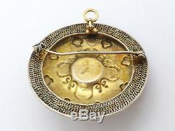 Antique Argent Or Vermeil Chinois D'exportation Broche Pendentif Corail Turquoise Émail