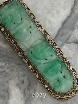 Antique Art Déco Chinois Naturel Jade Robe En Argent Massif-gilt Clip Sculpté