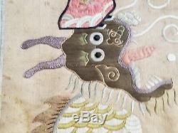 Antique Asiatique Chinoise Or Argent Fil De Soie Kesi Tapestry 1900 Late Des Années 1800