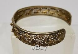 Antique Bracelet Asiatique Chinois Doré En Filigrane Bracelet En Argent Avec Bijoux