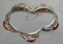 Antique Bracelet Filigrane En Argent Sterling Doré Cornaline Vintage Chinese Export