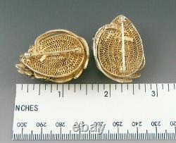 Antique C1915 Chinese Gold Wash Silver Enamel Filigre Flower Pin Ensemble De Bijoux