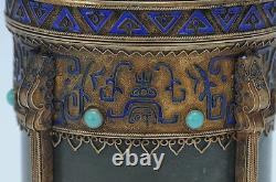 Antique Chinen Export Gilt Silver, Enamel, & Jade Box/tea Cuddy