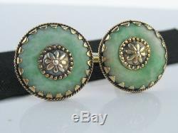 Antique Chinese Art Déco Or En Argent Sterling Et Vert Jade Pierres Précieuses Boutons De Manchette