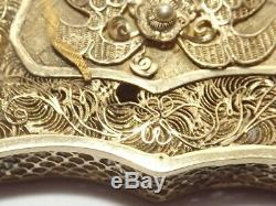 Antique Chinese Export Argent Massif Vermeil Filigree Carte De Cas Griffe Dragons C1870